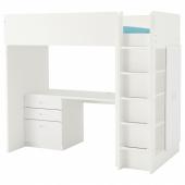 СТУВА / ФРИТИДС Кровать-чердак/3 ящика/2 дверцы, белый, белый, 207x99x182 см