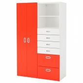 СТУВА / ФРИТИДС Шкаф платяной, белый, красный, 120x50x192 см