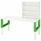 ПОЛЬ Письменн стол с полками, белый, зеленый, 128x58 см