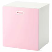 СТУВА / ФРИТИДС Модуль для игрушек, на колесиках, белый, светло-розовый, 60x50x64 см