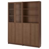 БИЛЛИ / ОКСБЕРГ Стеллаж/панельные/стеклянные двери, коричневый ясеневый шпон, 160x30x202 см