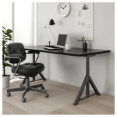 ИДОСЕН Письменный стол, черный, темно-серый, 160x80 см