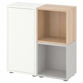 ЭКЕТ Комбинация шкафов с ножками, белый/светло-серый, под беленый дуб, 70x25x72 см