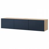 БЕСТО Тумба под ТВ, с дверцами, под беленый дуб, Нотвикен синий, 180x42x38 см