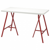 ЛИННМОН / ЛЕРБЕРГ Стол, белый, красный, 120x60 см
