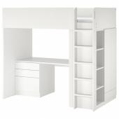 СМОСТАД Кровать-чердак, белый белый, с письменным столом с 4 ящиками, 90x200 см