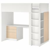 СМОСТАД Кровать-чердак, белый береза, с письменным столом с 4 ящиками, 90x200 см
