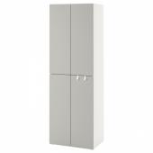 СМОСТАД / ОПХУС Гардероб, белый серый, с 2 платяными штангами, 60x55x180 см