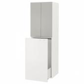 СМОСТАД Гардроб с выдвижным модулем, белый серый, с платяной штангой, 60x55x196 см