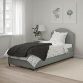 ХАУГА Кровать с обивкой,2 кроватных ящика, Висле серый, 90x200 см