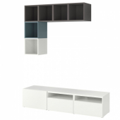 БЕСТО / ЭКЕТ Комбинация для ТВ, белый/темно-серый, серо-бирюзовый, 180x42x170 см