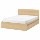 МАЛЬМ Каркас кровати+2 кроватных ящика, дубовый шпон, беленый, Леирсунд, 160x200 см