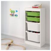 ТРУФАСТ Комбинация д/хранения+контейнеры, белый, зеленый белый, 46x30x94 см