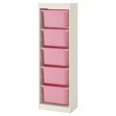 ТРУФАСТ Комбинация д/хранения+контейнеры, белый, розовый, 46x30x145 см