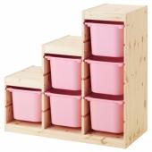 ТРУФАСТ Комбинация д/хранения, светлая беленая сосна, розовый, 94x44x91 см