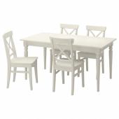 ИНГАТОРП / ИНГОЛЬФ Стол и 4 стула, белый, 155 см