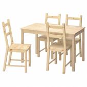 ИНГУ / ИВАР Стол и 4 стула, сосна, 120 см