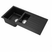 ХЭЛЛВИКЕН Полуторная врезная мойка с крылом, черный, кварцевый композит, 100x50 см