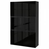 БЕСТО Комбинация д/хранения+стекл дверц, черно-коричневый, Сельсвикен глянцевый/черный прозрачное стекло, 120x40x192 см