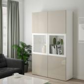 БЕСТО Комбинация д/хранения+стекл дверц, белый, Сельсвикен глянцевый/бежевый прозрачное стекло, 120x40x192 см