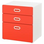 СТУВА / ФРИТИДС Комод с 3 ящиками, белый, красный, 60x64 см