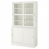 ХАВСТА Комбинация с раздвижными дверьми, белый, 121x47x212 см
