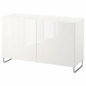 БЕСТО Комбинация для хранения с дверцами, белый, СЕЛЬВИКЕН/СУЛАРП глянцевый/белый, 120x40x74 см
