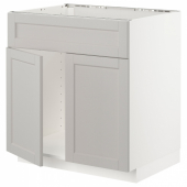 МЕТОД Напольн шкаф п-мойку 2 двр/фрн пнл, белый, Лерхюттан светло-серый, 80x60 см