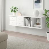 КАЛЛАКС Стеллаж с 2 вставками, белый, 42x147 см