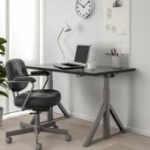 ИДОСЕН Стол/трансф, черный, темно-серый, 120x70 см