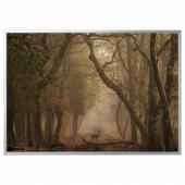 БЬЁРКСТА Картина с рамой, Лань, цвет алюминия, 200x140 см