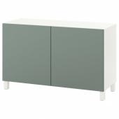 БЕСТО Комбинация для хранения с дверцами, белый, нотвикен/стуббарп серо-зеленый, 120x42x74 см