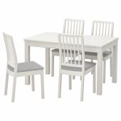 ЛАНЕБЕРГ / ЭКЕДАЛЕН Стол и 4 стула, белый, белый светло-серый, 130/190x80 см