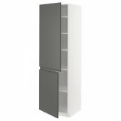 МЕТОД Высокий шкаф с полками/2 дверцы, белый, Воксторп темно-серый, 60x60x200 см