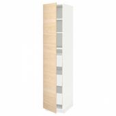 МЕТОД / МАКСИМЕРА Высокий шкаф с ящиками, белый, Аскерсунд под светлый ясень, 40x60x200 см