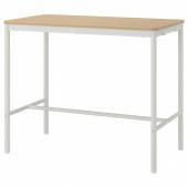 ТОММАРЮД Стол, дубовый шпон, беленый, белый, 130x70/105 см