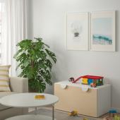 СМОСТАД Скамья с отделением для игрушек, белый, береза, 90x50x48 см