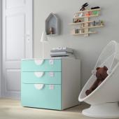 СМОСТАД / ОПХУС Комод с 3 ящиками, белый, бледно-бирюзовый, 60x55x63 см