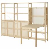 ИВАР 3 секции д/хранения+складной столик, сосна, 259x30x179 см