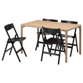 РОВАРОР / РОВАРОР Стол и 4 стула, дубовый шпон, черный, 130x78 см