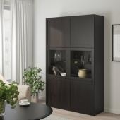 БЕСТО Комбинация д/хранения+стекл дверц, Ханвикен, Синдвик черно-коричневый прозрачное стекло, 120x40x192 см