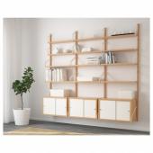 СВАЛЬНЭС Комбинация д/хранения, бамбук, белый, 193x35x176 см