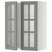 МЕТОД Навесной шкаф с полками/2 стекл дв, белый, Будбин серый, 60x80 см
