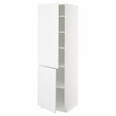 МЕТОД Высокий шкаф с полками/2 дверцы, белый, Воксторп матовый белый, 60x60x200 см