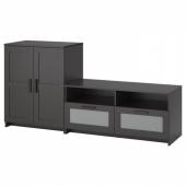 БРИМНЭС Шкаф для ТВ, комбинация, черный, 200x41x95 см