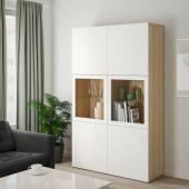 БЕСТО Комбинация д/хранения+стекл дверц, под беленый дуб, Сельсвикен глянцевый/белый прозрачное стекло, 120x40x192 см