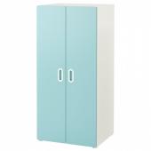 СТУВА / ФРИТИДС Шкаф платяной, белый, голубой, 60x50x128 см
