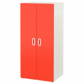 СТУВА / ФРИТИДС Шкаф платяной, белый, красный, 60x50x128 см