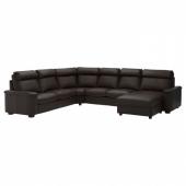 ЛИДГУЛЬТ Угловой 6-местный диван, с козеткой, Гранн/Бумстад темно-коричневый