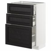 МЕТОД / МАКСИМЕРА Напольный шкаф с 3 ящиками, белый, Лерхюттан черная морилка, 60x37 см